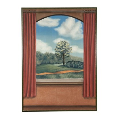 Trompe L'Oeil with Landscape Oil on Canvas Contemporary Art