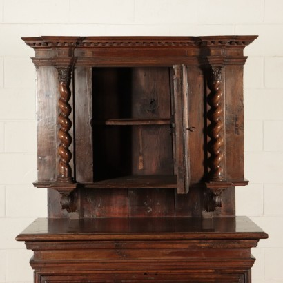 Readjusted Baroque Cupboard Walnut and Fir Italy 20th Century