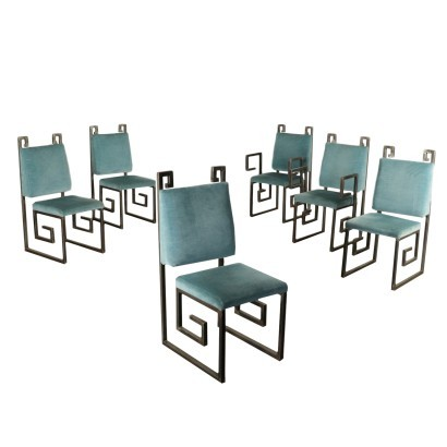 Group Of Sic Chairs Metal Foam Velvet Italy 1990s