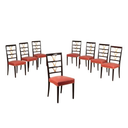 Group Of Eight Chairs Beech Spring Leatherette Italy 1950s