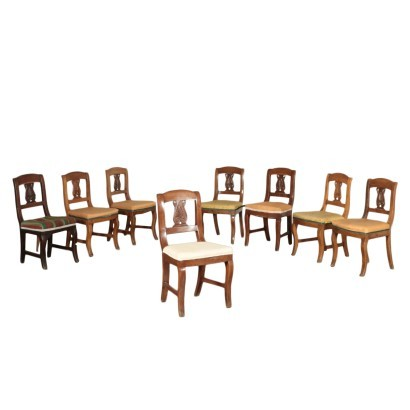 Group of 8 Restoretion Chairs Walnut Italy 19th Century