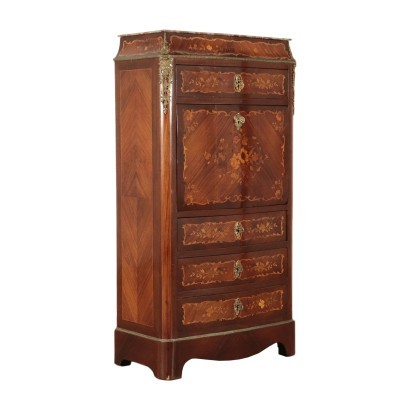 Inlaid Secretaire Red Marple and Leatherette Italy 20th Century