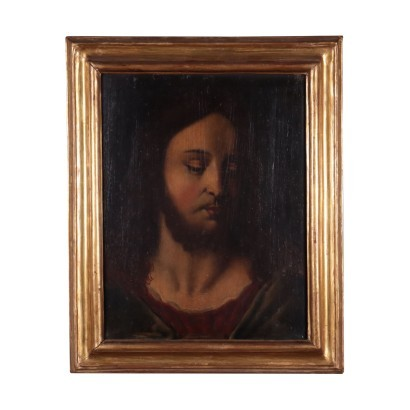 Face of Christ Oil on Board Italian School 18th Century