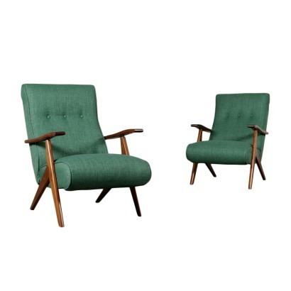 Pair Of Armchairs Italy Stained Beechwood Foam Fabric 1950s 1960s