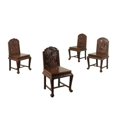 Group of Four Oriental Chairs 20th Century