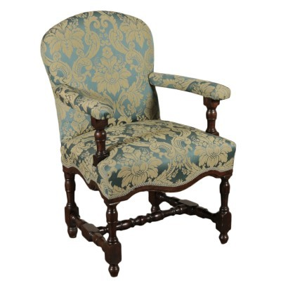 Baroque Style Chair Walnut and Padding Italy 17th-18th Century