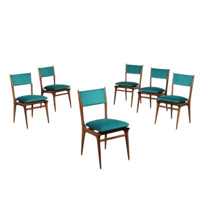 Group Of Six Chairs Stained Beechwood Foam Velvet Italy 1960s