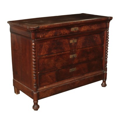Charles X Chest of Drawers Burl Veneer Italy 19th Century