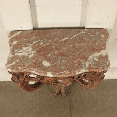 Barocchetto Console Linden Marble Piedmont Italy 18th Century