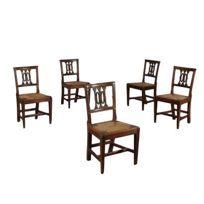 Group of Five Neoclassical Chairs, Walnut Italy 18th Century