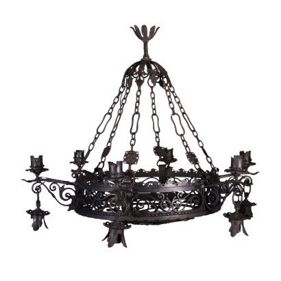 Chandelier Wrought Iron Italy Early 20th Century