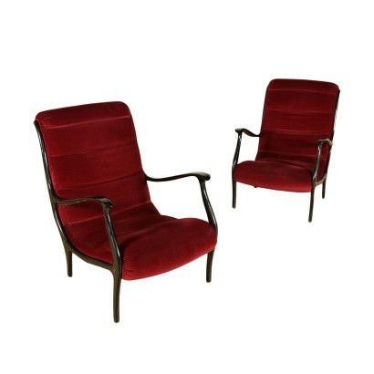 Pair Of Armchairs Ezio Longhi Velvet Stained Wood Italy 1950s 1960s