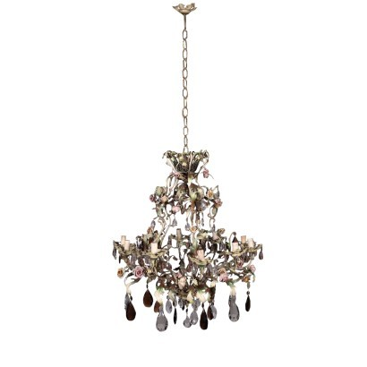 Chandelier Iron Shear Plate Glass Italy 20th Century