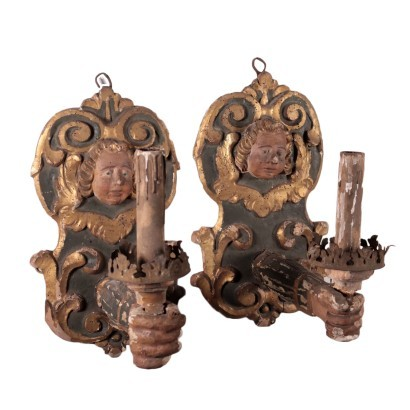 Pair of Candle Holders Linden Shear Plate Italy 17th Century