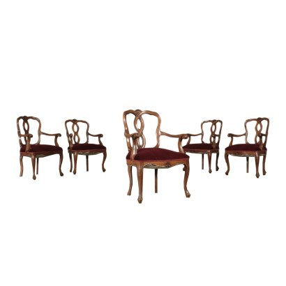 Group of 5 Barocchetto Revival Armchairs Walnut Italy 20th Century