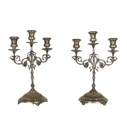 Pair of Silver Candlesticks Italy 20th Century