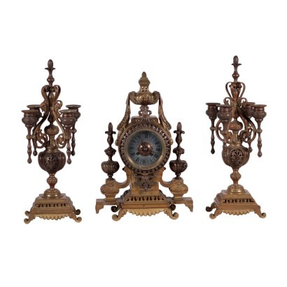 Table Clock with Candlestick Bronze France 19th Century
