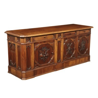 Umbertine Shop Counter Walnut and Glass Italy 19th Century