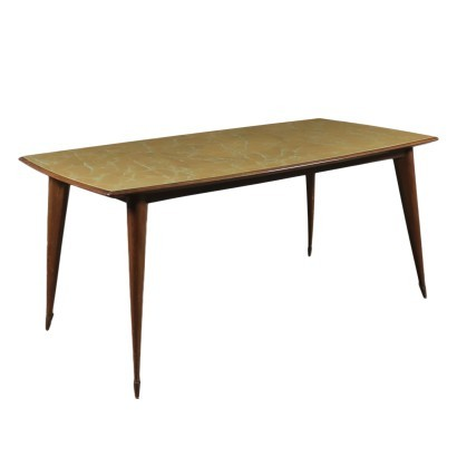 Table Beech Wood Back-Treated Glass Italy 1950s 1960s