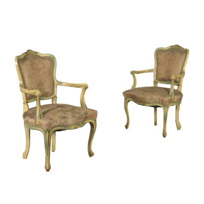 Pair of Barocchetto Revival Armchairs Italy 20th Century