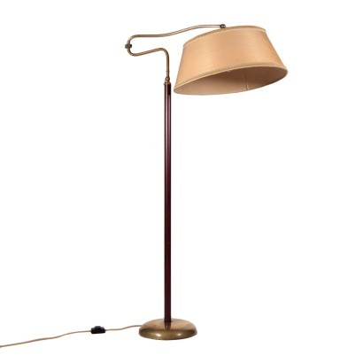 Lamp Brass Leather Paper Italy 1940s 1950s