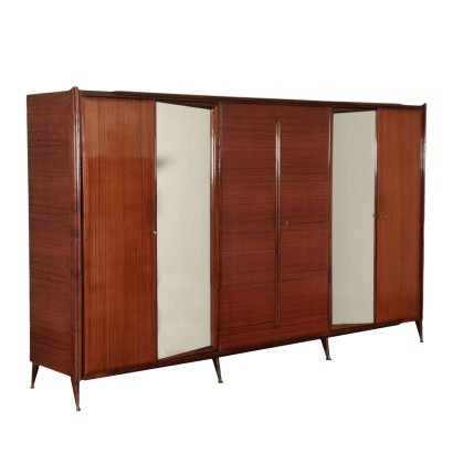 Wardrobe Veneered Wood Mirrored Glass Brass Italy 1960s