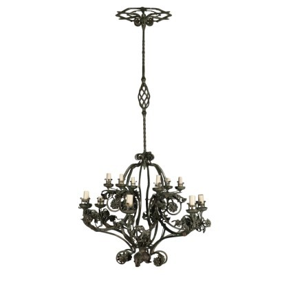 Chandelier Wrought Iron Italy 20th Century