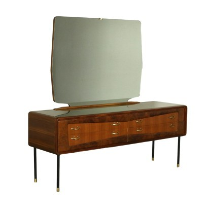 Chest Of Drawers Mahogany Burr Veneer Mirror Brass Metal Italy 50s 60s