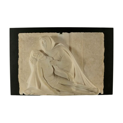 Mercy White Marble Low-Relief Italy 20th Century G. Scalvini