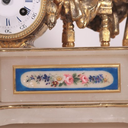 Table Clock Alabaster and Gilded Antimony France 18th-19th Century