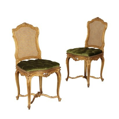 Pair of Rococo Revival Chairs Beech Padding France 19th-20th Century