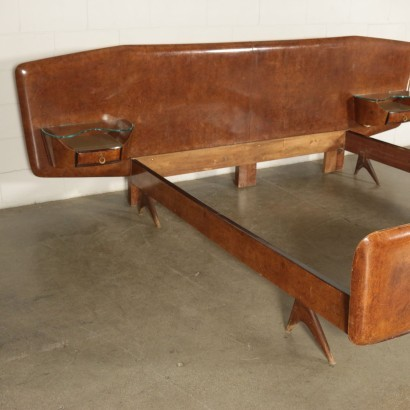 Bed Burl Veneer Glass Italy 1950s