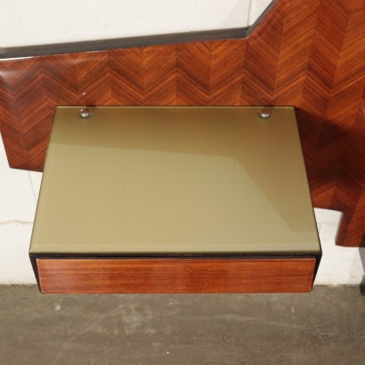 Bed Back-Treated Glass Veneered Wood Italy 1950s-1960s