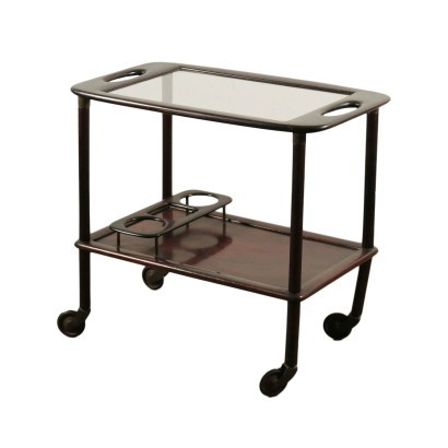 Service Trolley Beech Glass Italy 1950s Italian Production