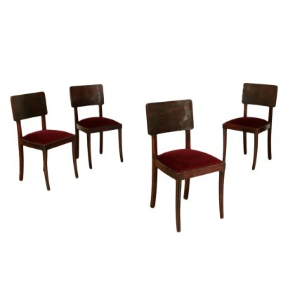 Group Of Four Chairs Stained Beech Foam Velvet Italy 1930s 1940s