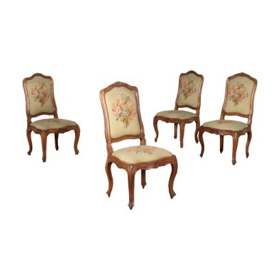 Group Of Four Barocchetto Chairs Walnut Italy 18th Century