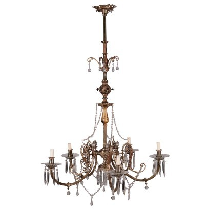 Chandelier Brass Glass Italy 20th Century