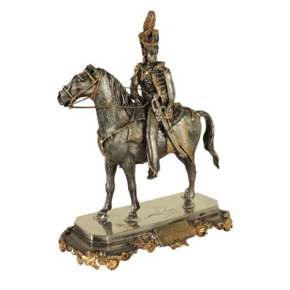 Soldier On Horse F.lli Ranzoni Silver Italy Milan Second Half 1900