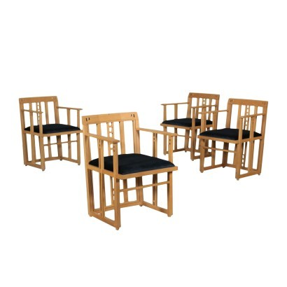 Group Of Chairs Umberto Asnago Beech Velvet Foam Meda Italy 1980s