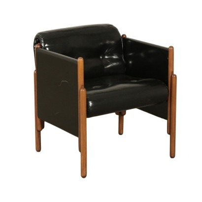 Armchair Stained Beech Foam Leatherette Italy 1960s