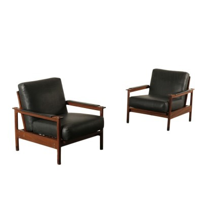 Pair Of Armchairs Teak Foam Leatherette Italy 1960s