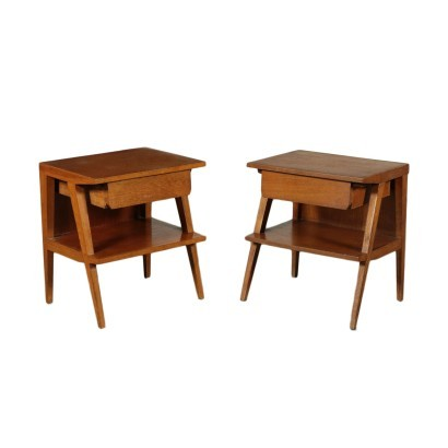 Bedside Tables Sessile Oak Veneer Solid Wood Italy 1950s