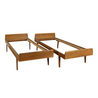 Beds Sessile Oak Veneer Italy 1950s Italian Production