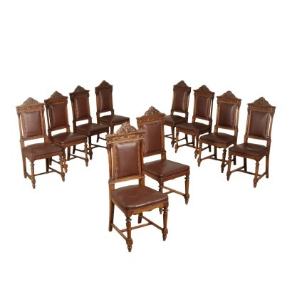 Group Of Ten Chairs Neo-Renaissance Revival Italy Early 20th Century
