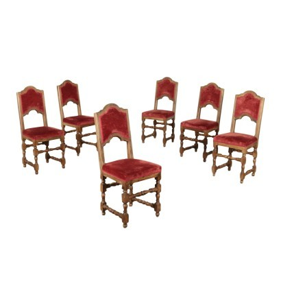 Group of 6 Barocchetto Revival Chairs Walnut Italy 20th Century