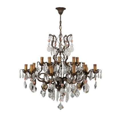 15 Lights Chandelier Iron Glass Italy 20th Century
