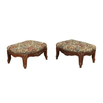 Pair of Barocchetto Footrests Walnut Padded Italy 18th Century