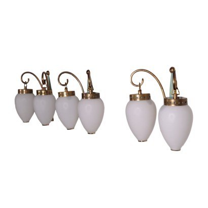 Group Of Three Sconces Brass Opaline Glass Italy 1950s