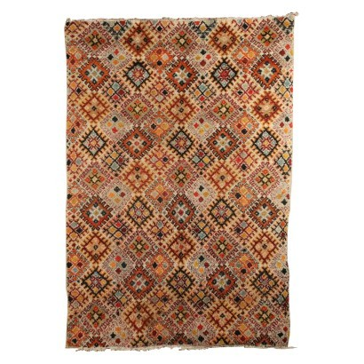 Vintage Carpet Wool Cotton Morocco 1980s-1990s