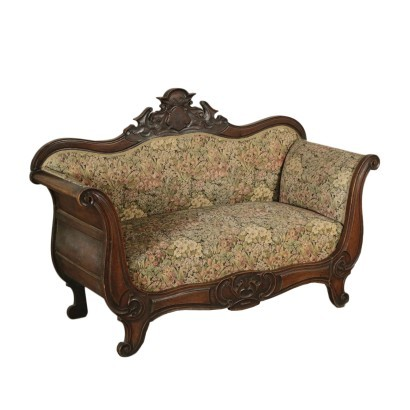 Louis Philippe Boat Sofa Walnut Padded Italy 19th Century